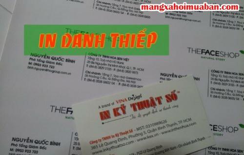 In danh thiếp giá rẻ số lượng lớn, in nhanh chóng tại Công ty TNHH In Kỹ Thuật Số - Digital Printing